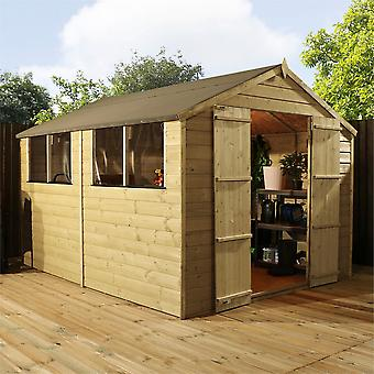 Mercia 10x8ft Pressure Treated Wooden Apex Garden Shed with Mineral Felt and Windows