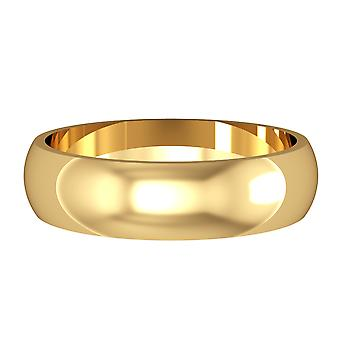Jewelco London 9ct Yellow Gold - 5mm Essential D-Shaped Band Commitment / Wedding Ring