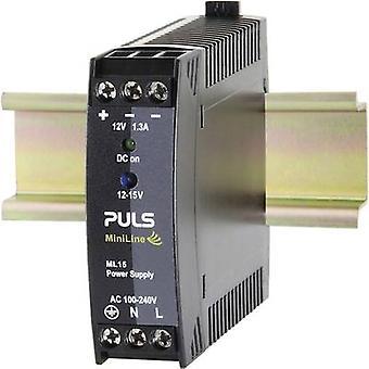 PULS MiniLine ML15.121 Rail mounted PSU (DIN) 12 Vdc 1.3 A 15 W 1 x