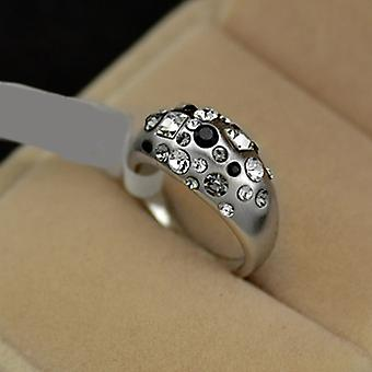 Platinum Plated Black And White Stellux Austrian Crystals Band
