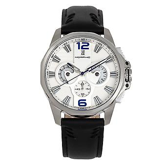 Morphic M82 Series Chronograph Leather-Band Watch w/Date - Silver/White