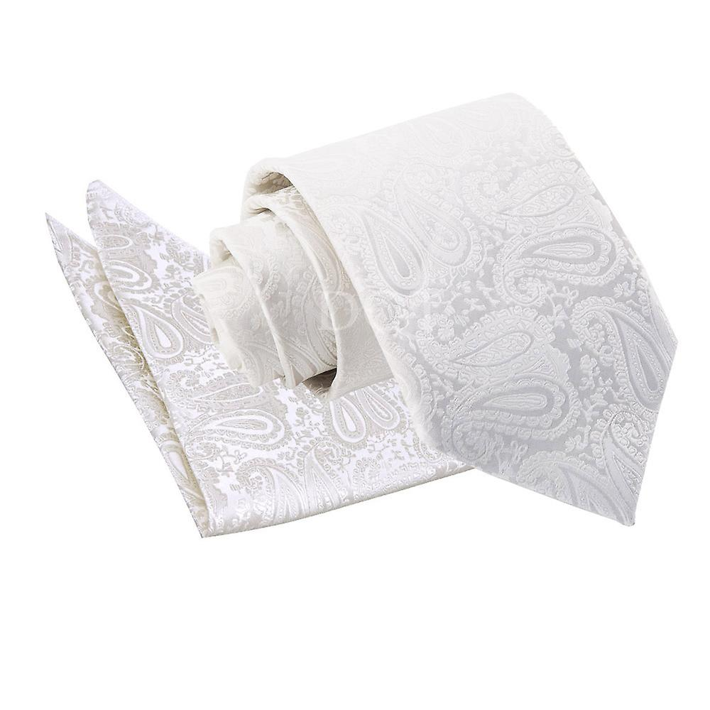Ivory Paisley Patterned Tie and Pocket Square Set