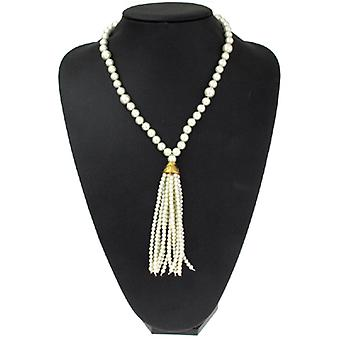Kenneth Jay Lane Long Antique Gold and Pearl Tassel Pendant Necklace