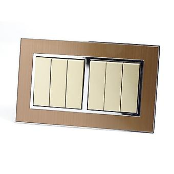 I LumoS AS Luxury Gold Satin Metal Double Frame 6 Gang 2 Way Rocker Light Switches
