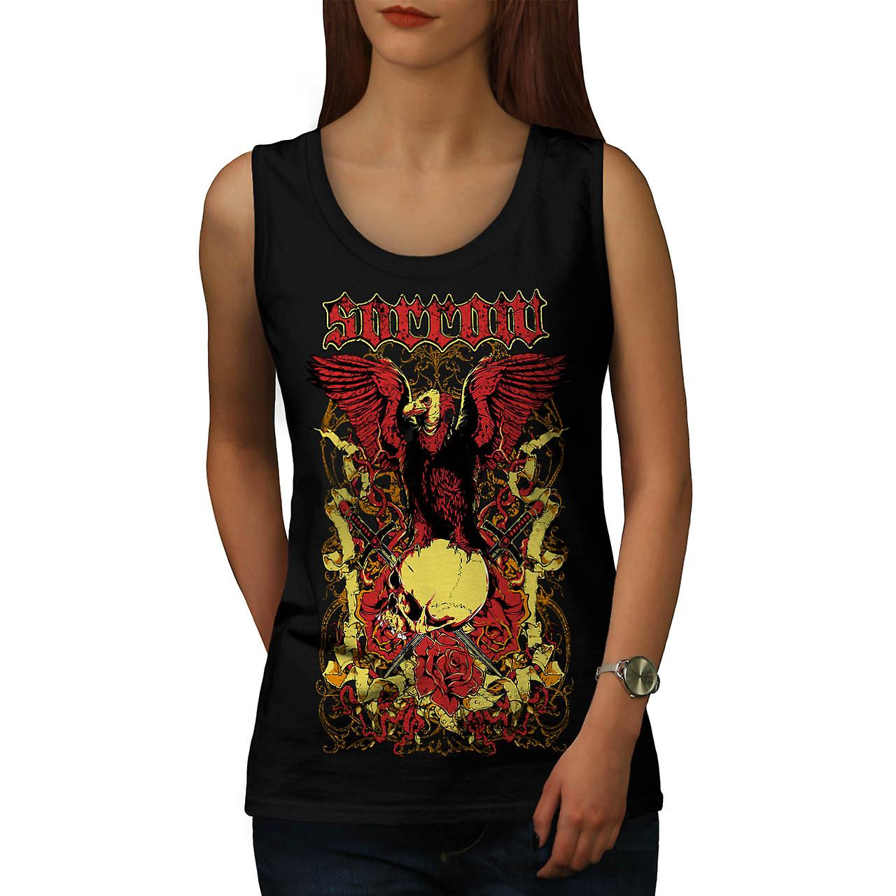 Sorrow Eagle Rose Skull Women Black Tank Top | Wellcoda