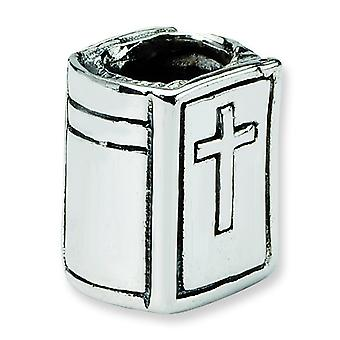 Sterling Silver Polished Antique finish Reflections SimStars Bible Bead Charm