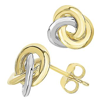 14 k deux tons or noeud d'amour Style dormeuses, 11mm
