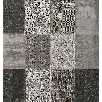 Vintage Black & White Patchwork Square Rug - Louis De Poortere