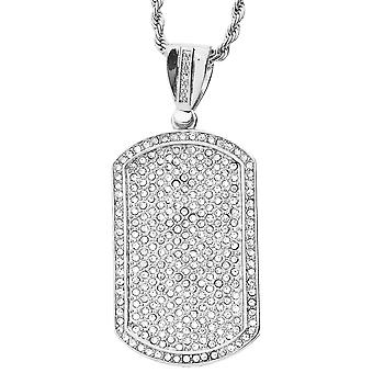 Iced out bling hip hop chain - DOG TAG silver