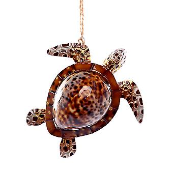 Sea Turtle Natural Cowry Shell Christmas Holiday Ornament 4.25 Inches