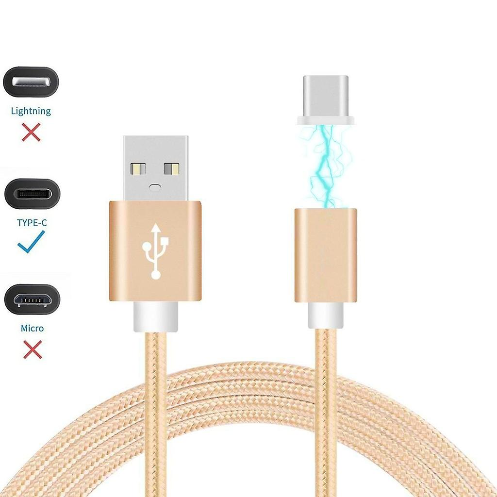 ONX3 (Gold) Magnetic USB Type-C Nylon Braided Fast Rapid Charging & Data Syc Transfer Cable with LED light Indicator for Asus ZenPad S 8.0 Z580CA