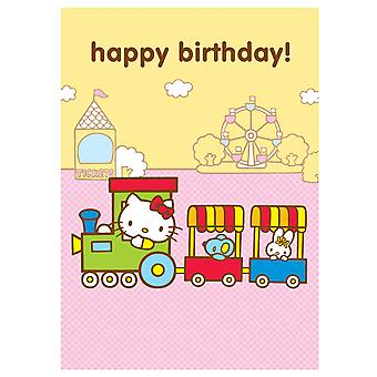 Hello Kitty Train Birthday Greetings Card