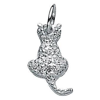 925 sølv Zirconia kat halskæde