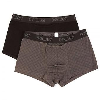 HOM HO1 Boxerlines Boxer Brief 2-Pack, Black/Grey Print, Large