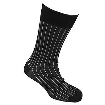 Tyler and Tyler Pinstripe Socks - Grey/Black