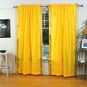 Giallo puro Sari tenda a bastone / drappo / pannello - coppia