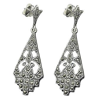 Ear studs earrings Marcasite stones Art Nouveau earrings 925 sterling silver