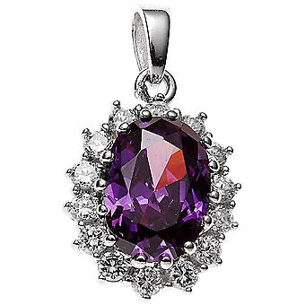 rhodium plated sterling silver 1 cubic zirconia Purple-paarse ketting hanger