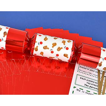 8 Red Foil Funky Rudolph Make & Fill Your Own Christmas Crackers Kit