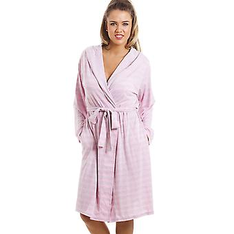 Camille Knee Length Long Sleeve Hooded Grey And Pink Striped Dressing Gown