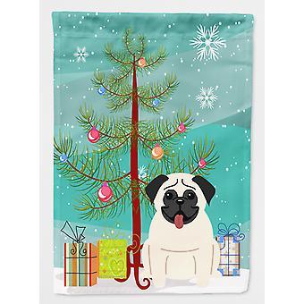 Merry Christmas Tree Pug krem flagg House lerretet