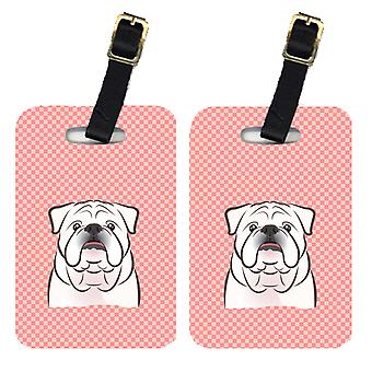 Pair of Checkerboard Pink White English Bulldog  Luggage Tags