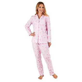 Slenderella PJ8208 Frauen Pink Floral Pyjama Langarm-Pyjama-Set