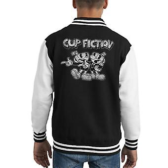 Cup Fiction Cuphead Distressed Kid's Varsity Jacket