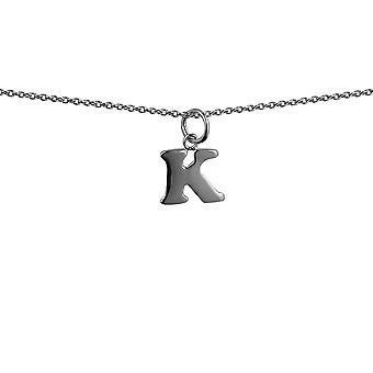 Silver 12x10mm plain Initial K Pendant with rolo Chain 14 inches Only Suitable for Children