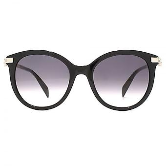 Alexander McQueen Diamante Skull Temple Detail Sunglasses In Black