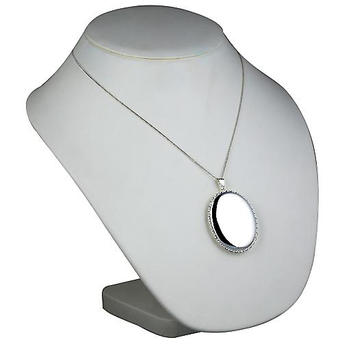 Silver 46x38mm plain twisted wire edge oval Locket with Curb chain