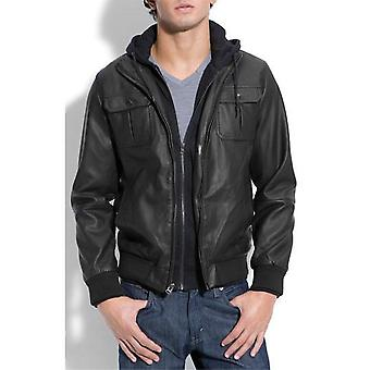 Mens Hooded Bomber Jacket With Inner Sweater