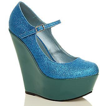 Ajvani damskie klin wysokiej pięty mary jane pasek platformy sąd buty pompy