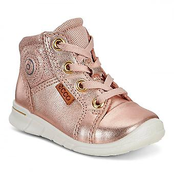 Ecco First Rose Dust Girls Leather High Tops With Flexible Sole