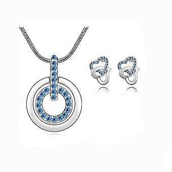 Womens Light Blue Circle Pendant Necklace With Matching Love Heart Earrings Set