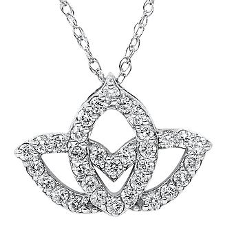 3 / 8ct Diamond Lotus bloem hanger 14K White Gold