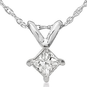 1/2ct Princess Cut Real Diamond Pendant White Gold New