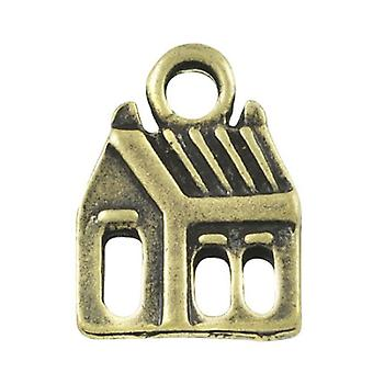 Packet 10 x Steampunk Antique Bronze Tibetan 15mm House Charm/Pendant ZX14325