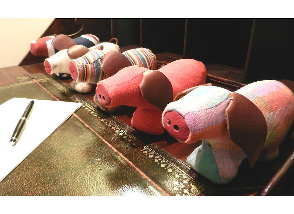 Red Jumbo Cord Pig Paperweight by Monica Richards