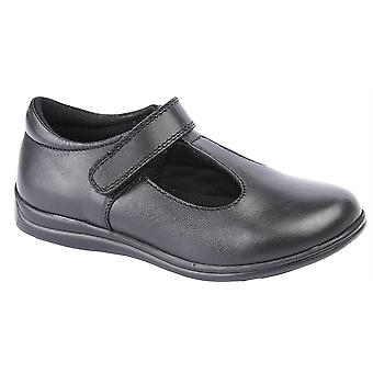 Infant Girls Leather T Bar Touch Fastening Smart School Formal Shoes
