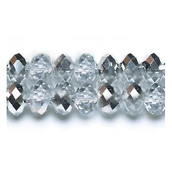 70+ Clear/Silver Czech Crystal Glass 8 x 10mm Faceted Rondelle Beads HA20470