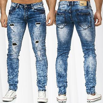 Men's Jeans Pants Ripped Destroyed Holes Cracks Camouflage Used Denim