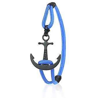 Skipper Anker Armband Nylon maritimes Armschmuck in Blau mit Schwarzem Anker 6928