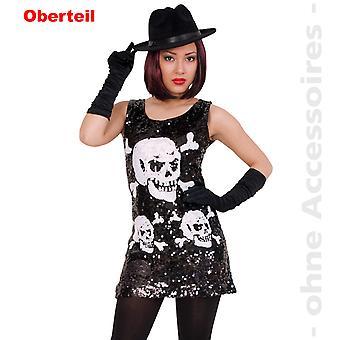 Totenkopf Kostüm Damen Horrorkleid Pailettenkleid Halloween Damenkostüm