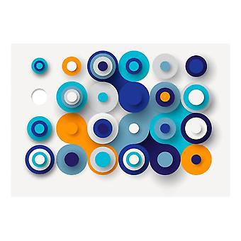 Artgeist Wallpaper Geometry Of Blue Wheels (Decoration , Vinyls)