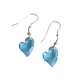 Hjerte oerespyd lys blå sølv RETO hjerte øreringe sølv med krystalelementer
