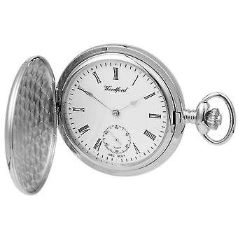 Woodford Chrome Plated Polished Full Hunter Mechanical Pocket Watch - Silver