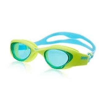Arena The One Junior Swimming Goggles- Blue Tinted Lens - Lime/Blue