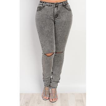 IKRUSH женские Raya разорвал колена узкие джинсы