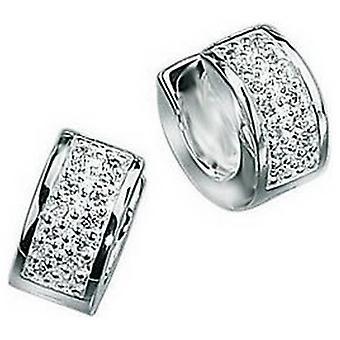 Beginnings Cubic Zirconia Bling Hoop Earrings - Silver
